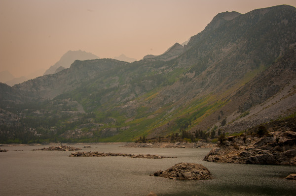 Smoke from the Rough Fire makes it difficult to see aspen that are turning yellow at Lake Sabrina (8/24/15) John Poimiroo